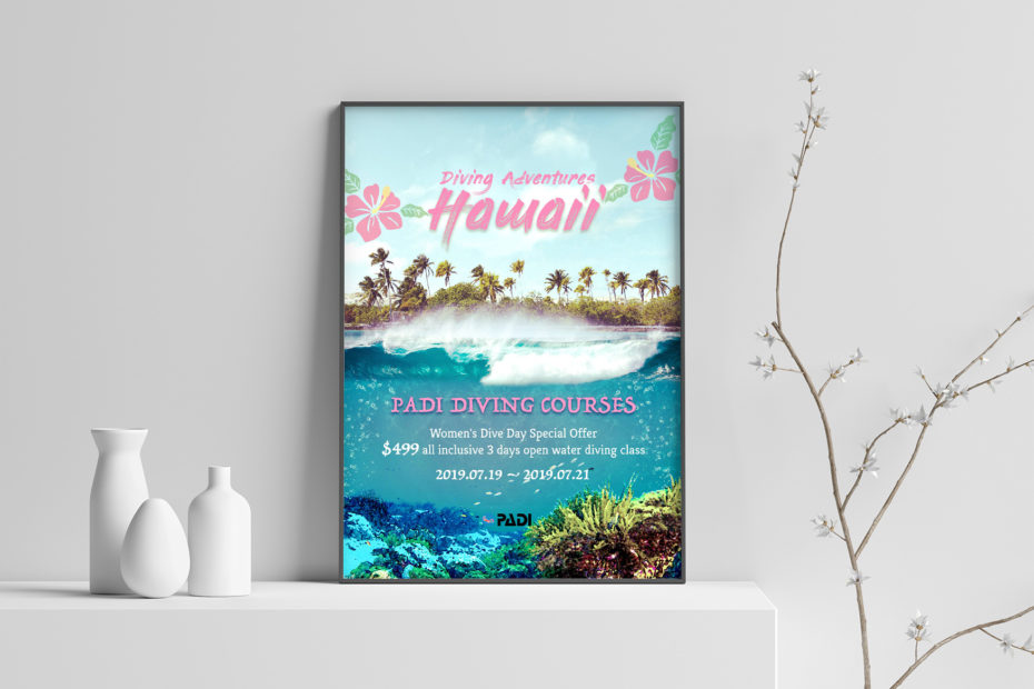 Advertising Poster - Diving Adventure Hawaii